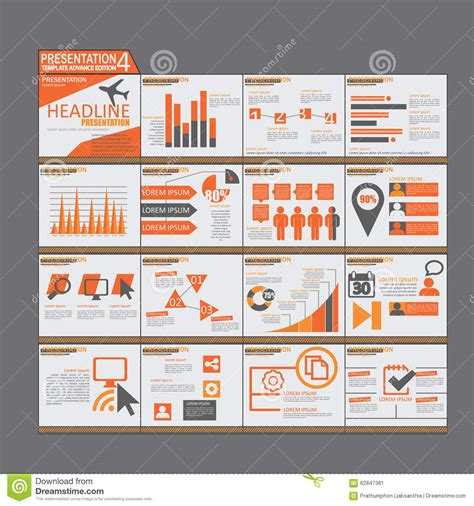 design brochure using powerpoint orange presentation infographic elements template flat