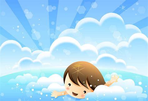 Cute kid in blue sea clouds kids wallpaper home interior decor
