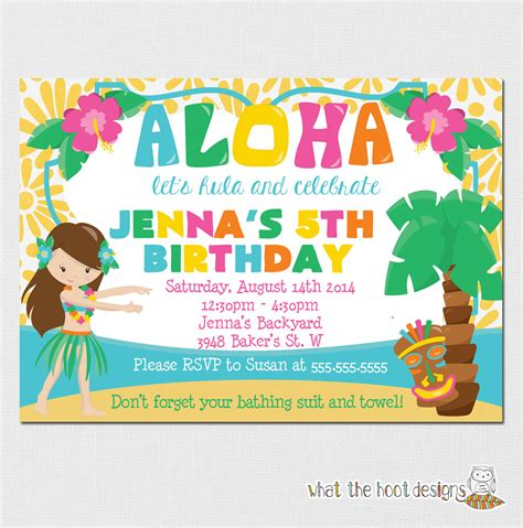 luau invitation luau birthday party luau pool party