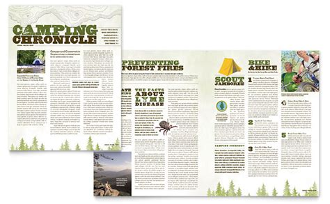 nature camping hiking newsletter template design