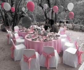 Tables and chairs dressed in our popular princess style chair covers