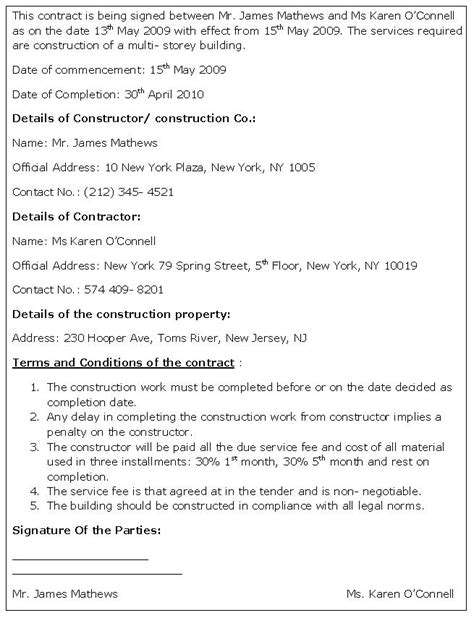 Agreement Letter For Building Construction Contract Template Free Printable Documents