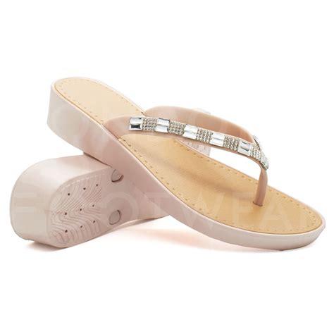 Sandal Wedges V Gd101 new s low wedge heel sandals diamante flip flops toe post size 3 8 ebay