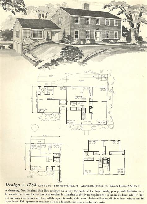 vintage home floor plans vintage house plans salt box 1763 antique alter ego