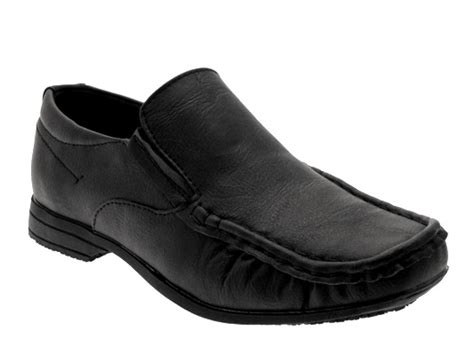 slip on shoes for school mens boys black slip on school shoes faux leather moccasin