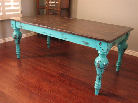 tische bemalen european paint finishes rustic turquoise dining table