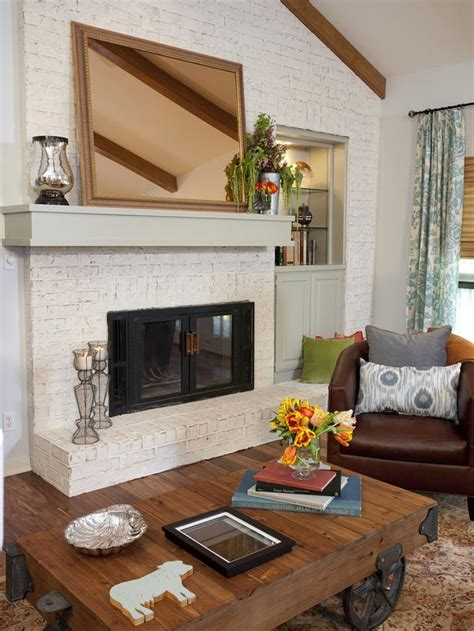 living room brick fireplace country living space photos hgtv