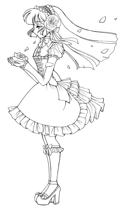 gothic disney princesses coloring pages gothic lolita line art by sererena on deviantart