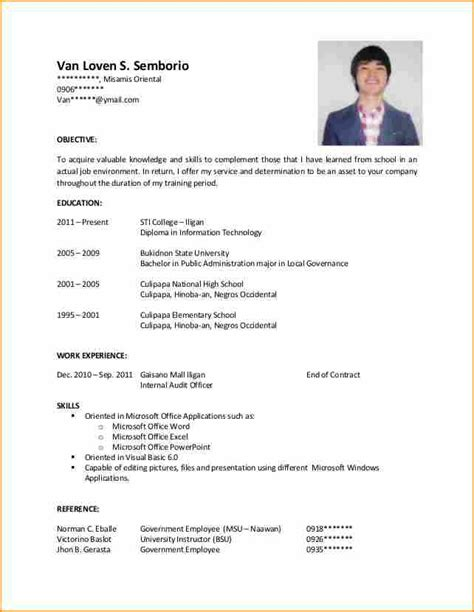 Resume Sle For Ojt Accounting Technology Students resume sle for ojt applicants resume ixiplay free