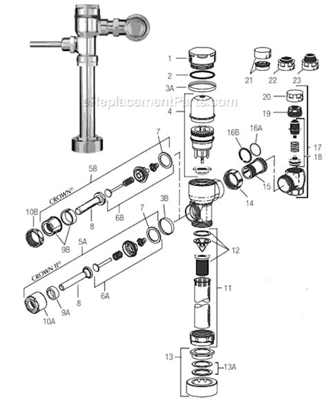 sloan valve parts diagram sloan crown parts list and diagram ereplacementparts