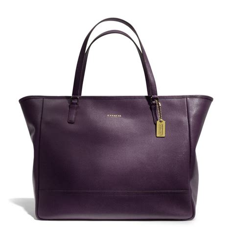 Coach City Tote Studded Black lyst coach large city tote in saffiano leather in purple