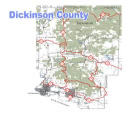 map of dickinson dickinson county michigan snowmobile trail map