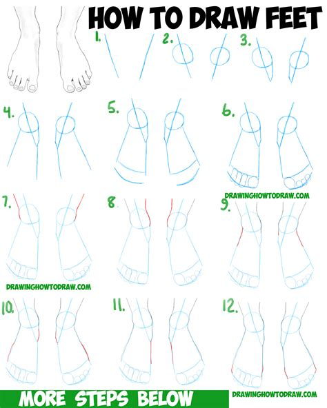 how to draw the human foot with easy step by step