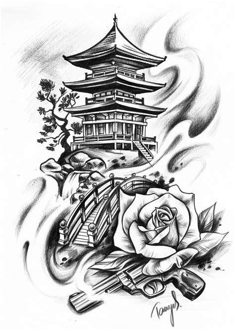Japanisches Motiv Japan Haus Tempel Tattoo Design Grafik