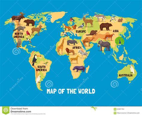 card world carte du monde d animaux illustration de vecteur image