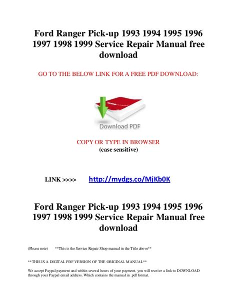 service repair manual free download 1994 ford e series electronic valve timing ford ranger pick up 1993 1994 1995 1996 1997 1998 1999 service repair