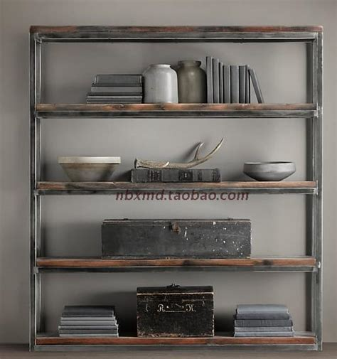 american iron wood display cabinet old retro minimalist living room bookshelf library shelves loft american retro style to do the old wrought iron wood