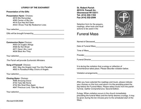 Funeral Mass Program Template Free catholic funeral mass order of service template choice