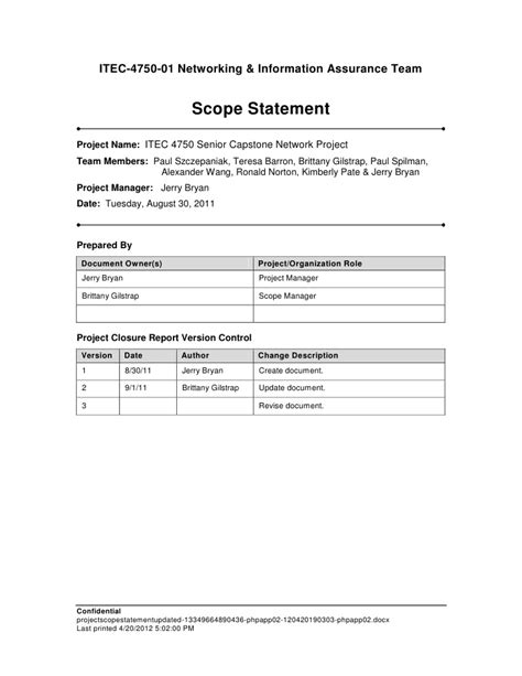 Project Scope Statement Project Plan Scope Template
