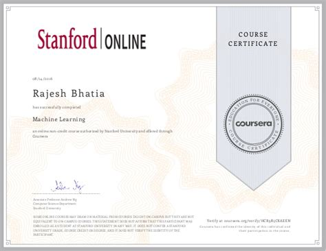 Stanford Post Mba Certificate by Rajesh Bhatia Coursera Machine Learning Certificate