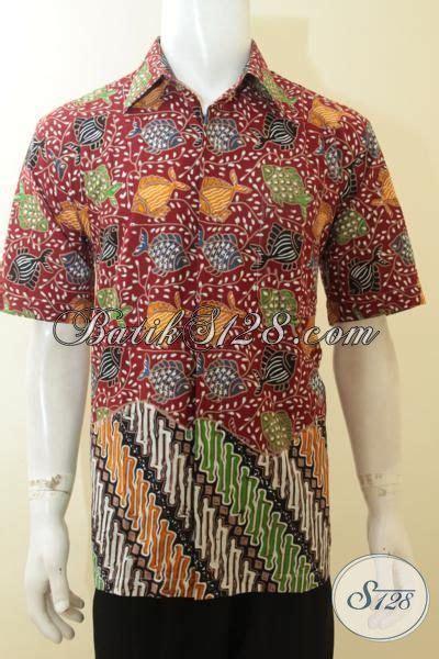 Batik Hem Ikan hem batik warna merah proses cap tulis kemeja batik motif ikan keren dan fashionable sangat