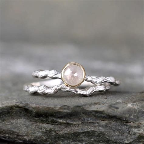 twig engagement ring with cut sterling