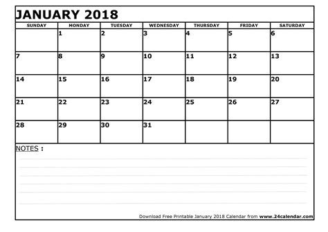 free january 2018 calendar printable january 2018 calendar