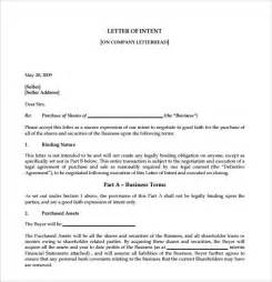 Sle Of Business Letter Letter Of Intent To Purchase Business 8 Free