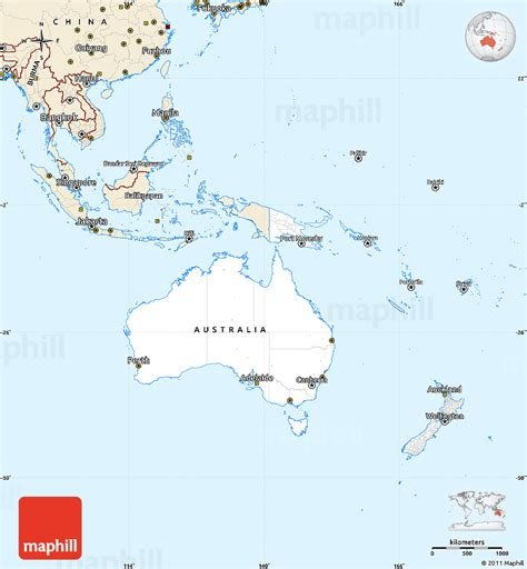 simple map of australia classic style simple map of australia and oceania