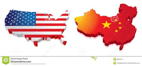map of usa vs china 3d kaart china en de v s met vlag stock afbeelding