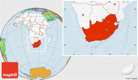 Address Finder South Africa Political Location Map Of South Africa Highlighted Continent