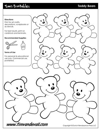 template for a teddy free teddy templates for tim s printables