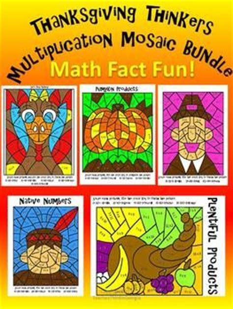 thanksgiving color by number multiplication mosaic bundle coloring pages thanksgiving color by number