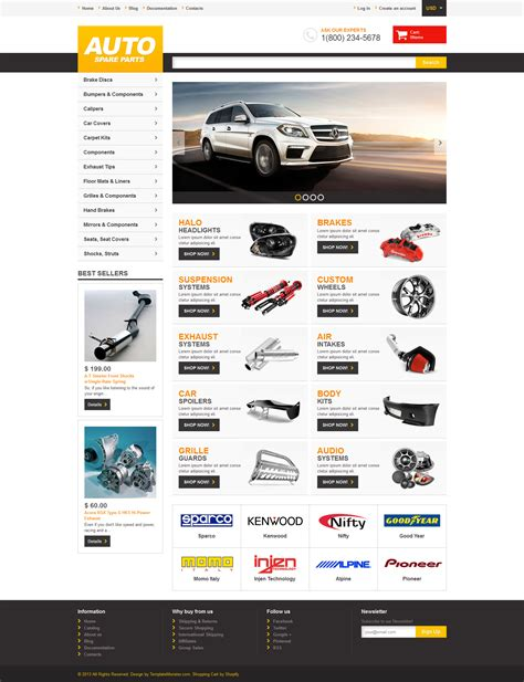 Auto Parts Responsive Shopify Theme 47703 Shopify Template