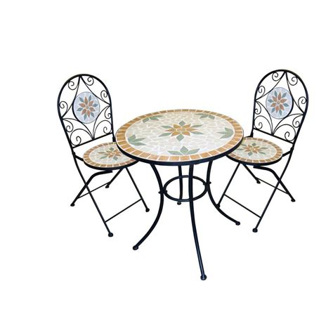 alpine white mosaic 3 piece iron patio bistro set jfh918a