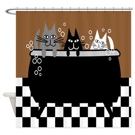 Cym Pajamas Cat Brown Cp whimsical cat shower curtain by gailgabel