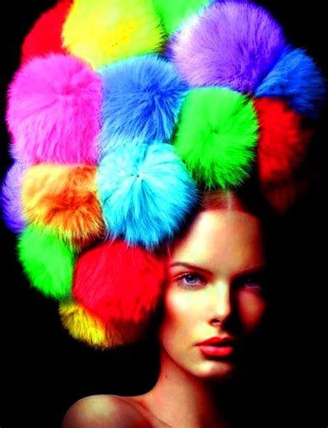 Rainbow Pompom rainbow color pom poms hat the rainbow