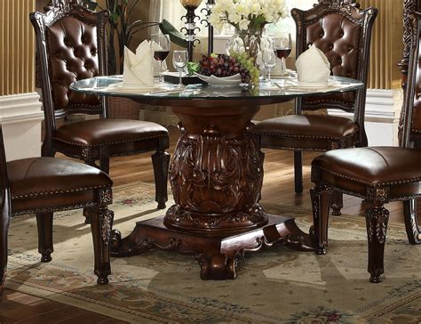 Traditional Glass Dining Table Vendome Traditional Glass Top 54 Quot Dining Table In Brown Cherry