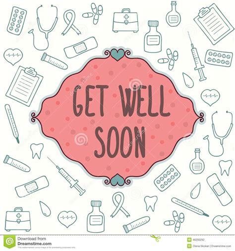 doodle get well soon get well soon card stock vector image 46200292