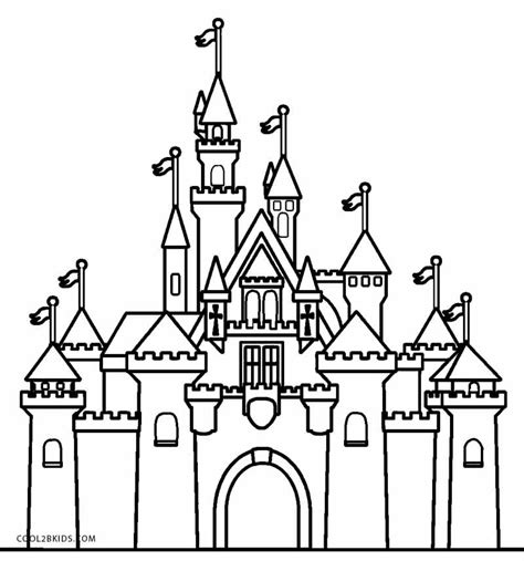 Easy Cinderella Castle Coloring Coloring Pages Castle Coloring Pages