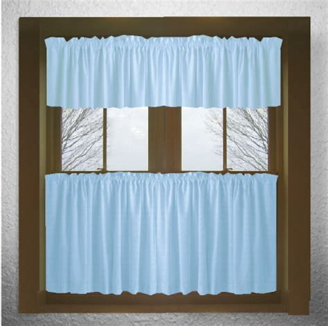 Solid Light Blue Kitchen Tier Cafe Curtains