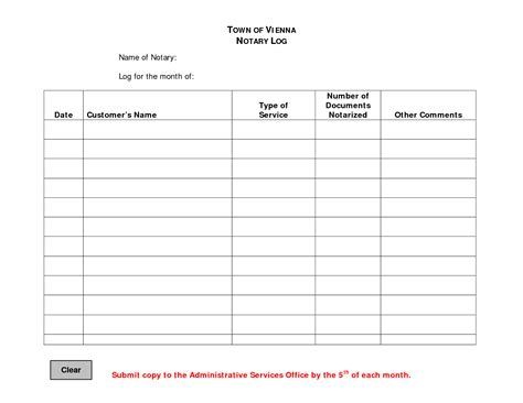 best photos of notary public log page printable notary