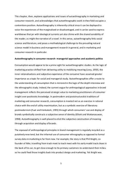 Ethnographic Essay Exles by Autoethnography Exle Essays Ethnographic Research Exploring The Quality Of Social In