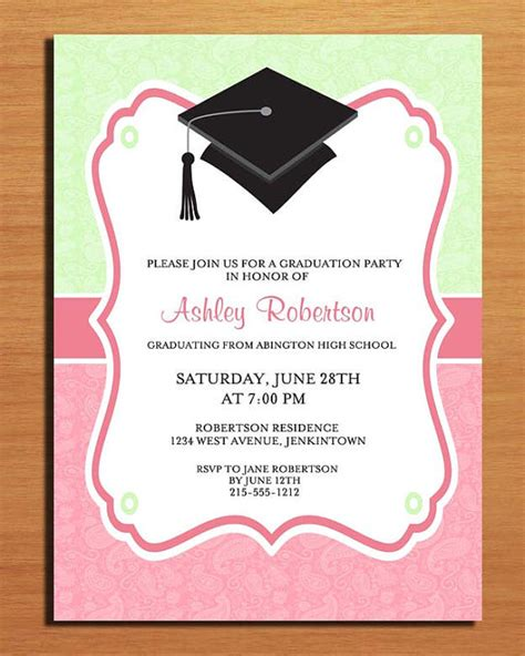 paisley graduation invitation cards printable diy