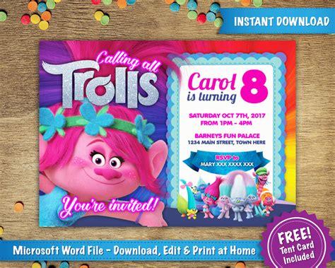 5x7 Birthday Card Template by Diy Printable 5x7 Trolls Poppy Birthday Invitation