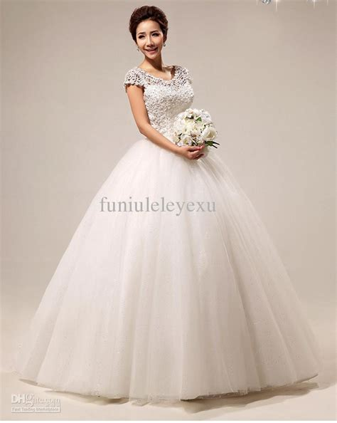 desain gaun organza elegant ball gown short sleeve beading floor length lace
