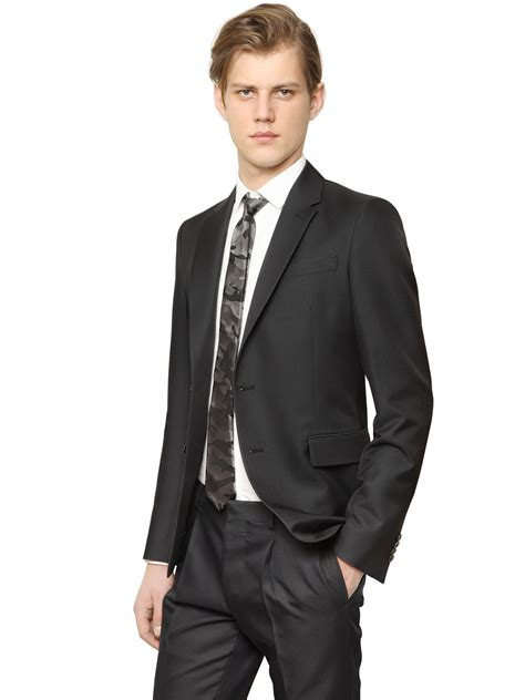 Valentino Suit lyst valentino wool silk barathea suit in black for