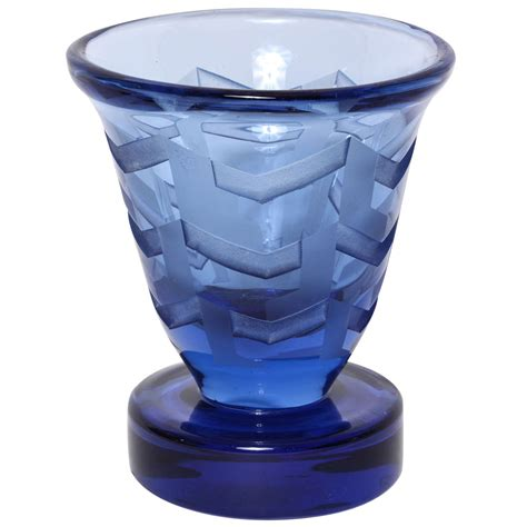Circular Vase by Etched Glass Vase On Circular Base By Jean Luce At 1stdibs