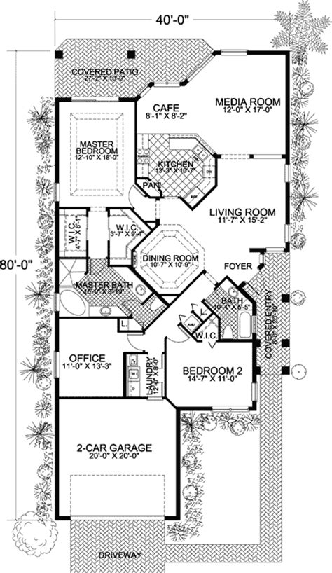narrow lot mediterranean home plan 32170aa