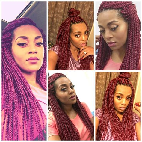 medium box braids with color 25 best ideas about burgundy box braids on